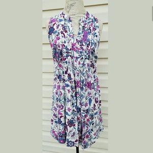 Old Navy Floral Pleated Summer Dress Medium